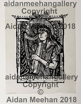 ORIGINAL Pen&Ink Irish Artwork Celtic Calligraphy Meehan Aidan