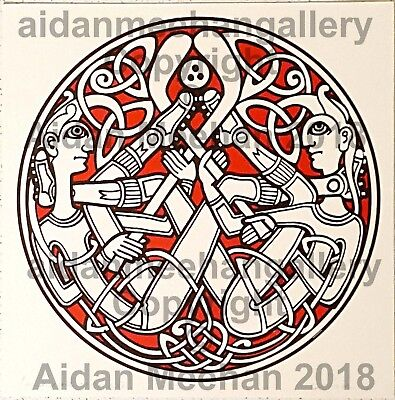 Celtic Art Print,Knot Figures,2-colour red & black ink on paper,Hurling Players