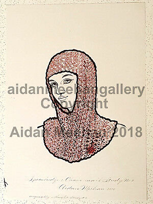 Aidan Meehan ORIGINAL Art Pen and Ink, Face of Knight in Chain mail