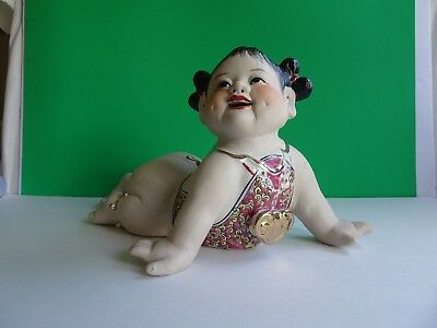 Vintage Pretty Asian Chinese Girl Smiling Crawling Risque Porcelain Figurine