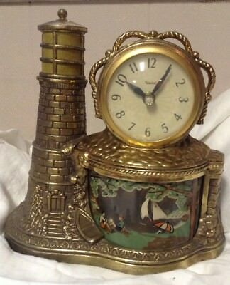 United Lighthouse Motion Clock Lamp w/Rotating Sailboat Display Model 290 Tested