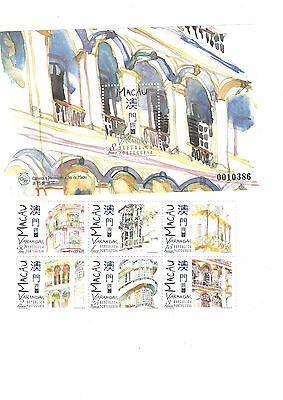 STAMP SHEET FROM MACAU China BUILDINGS plus stamps MINT Asia