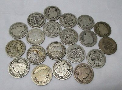 Lot of Twenty Barber Silver Dimes Mixed Dates In Good or Better Condition