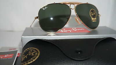 142ffb8fcf RAY BAN NEW Sunglasses Outdoorsman Black Leather Green G-15 RB3422Q ...