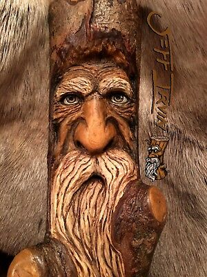 Gnome Wood Spirit Carving Forest Tree Wizard  Original Sculpture IRVIN