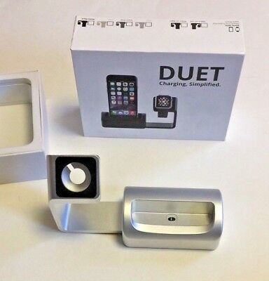 Antsy Labs DUET (WATCH ON LEFT) dock charge iPhone Apple Watch SILVER magnetic
