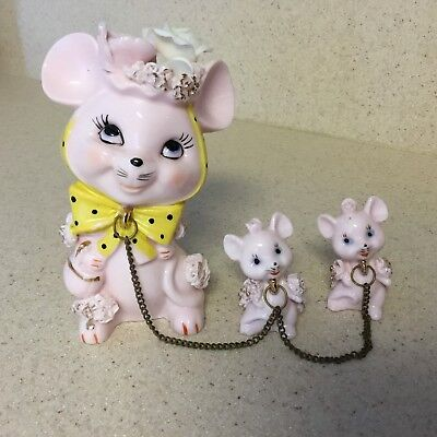 Vintage NAPCO 1G4306 Mouse Family Chain Figurines