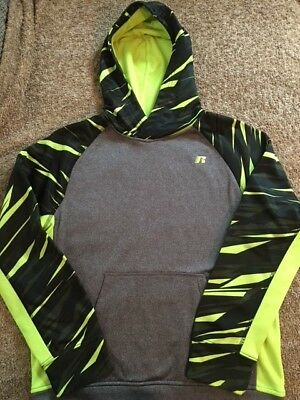 Boys Pull over hoodie Gray Black & Yellow Youth Size XL 14-16 EUC