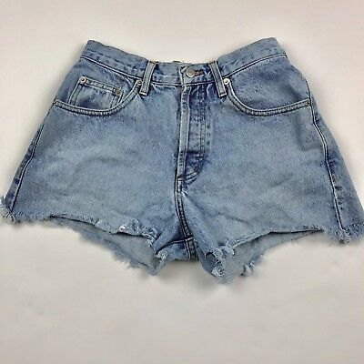 Vintage Guess Jeans Cutoff Denim Button Fly Shorts Womens Light Wash Size 26