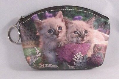 Creme Color Cats Kittens With Purple Flowers Zipper Coin Purse Key Chain Pouch