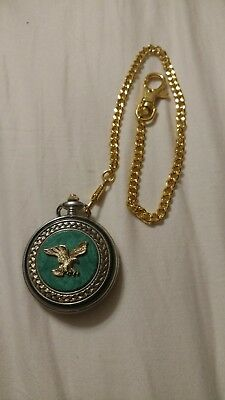 Franklin Mint American Bald green pocket watch