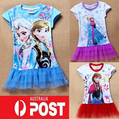 New Frozen Elsa and Anna Dress Top T-shirt Toddler Clothes Size:2-7 Years Gift