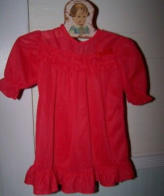 "Red I.C baby girls nylon ruffle trim lingerie long Nightgown ~ 10"" across chest"