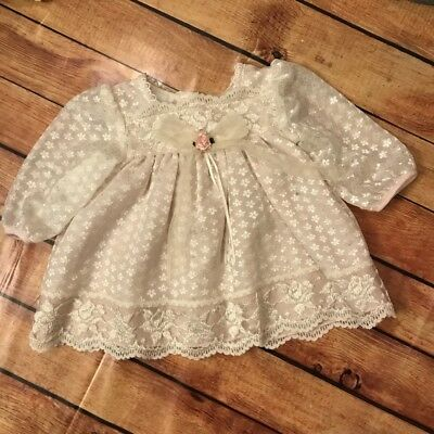Vintage Sheer Ivory Dress with Pink Underlay  Baby Girl Doll 12 months