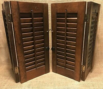 Decorative Small Wooden Window Shutters Louvered Vintage Country Shabby Chic
