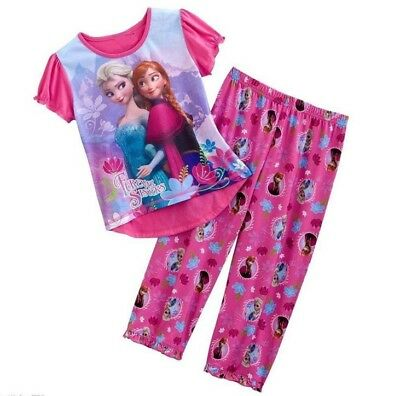 New Girls Pyjamas Sleepwear PJs Elsa and Anna Size 2-10 years