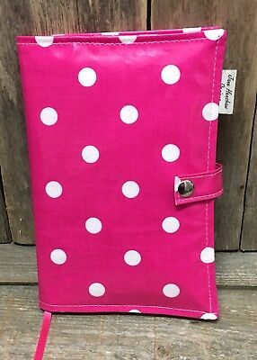 A5 Diary Cover,Journal Cover,Week To View Cover,Pink Spotty Oilcloth