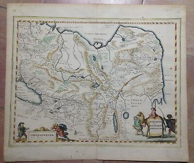 SIBERIA TARTARY CHINA c.1640 BY MATTHAUS MERIAN ANTIQUE COPPER ENGRAVED MAP