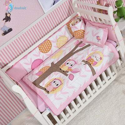 Owls in the woods 8 Piece Crib Bedding Sets Nursery Crib Set Crib Cot Sheet