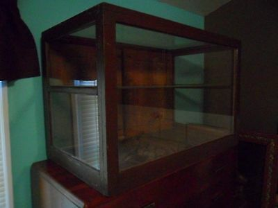 Country Store Display Showcase Cabinet Counter Vintage Wood Glass Shelves