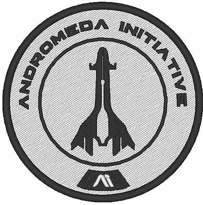 E0010 Game - Cosplay Patch  Mass Effect Andromeda Initiative Embroidered B&w