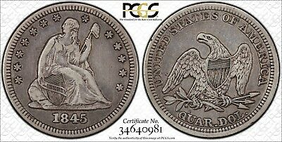 1845 Seated Liberty Quarter, PCGS VF 35 Secure