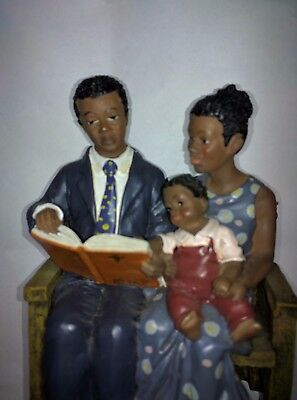 CHURCH Pew Family mom dad son with Bible African American collection