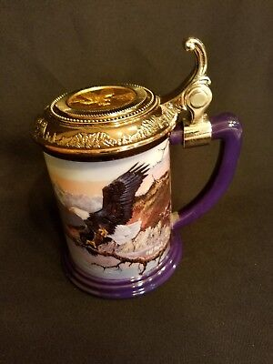 """FRANKLIN MINT Eagle """"MONARCH OF THE VALLEY"""" TANKARD BEER STEIN MUG"""