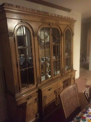 Antique Karges 2pc Walnut China Cabinet Breakfront/buffet