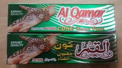 2  X  Al Qamar TOP Quality Cone Henna Paste For Hand N Body Tattoo Tube Paste
