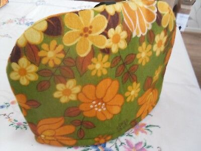 Vintage Retro Flower Power 1970's Tea Cosy Orange And Green Floral