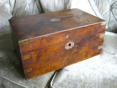 Antique 19thC Brass Bound Mahogany Campaign  Writing Slope Box - For Restoration