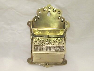 A Fine 19thC Brass Match Strike and Holder - Wall Mounted
