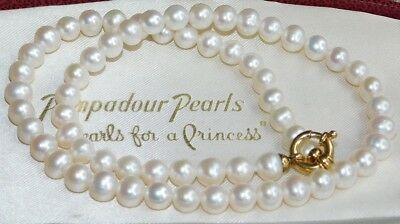 STUNNING, 9CT Gold Clasp 0.7cm White Freshwater PEARL Necklace RRP £799