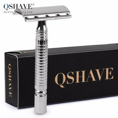 Qshave Men's Short Handle Classic Safety Shaving Razor Double Edge with 5 Blades