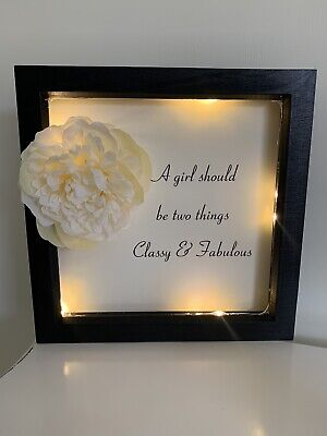 Coco Chanel Classy & Fabulous Black Box Frame Picture Print Quote Light Lamp