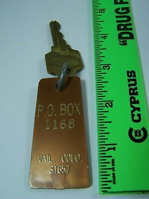 Vintage Vail Colorado Motel/Hotel/Post Office Box ??? Key Fob & Key