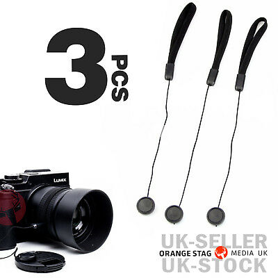 3Pcs Camera Lens Cover Cap Keeper Holder Strap Lanyard Rope Anti-lost String New