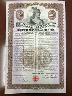 German Dawes External Loan 1924 $500 Dollar Gold Bond - Uncancelled + Coupons