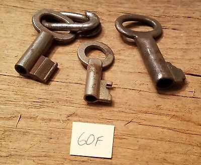 3 Antique OPEN HOLLOW BARREL SKELETON KEYS Vintage Lot Collectible - Steampunk