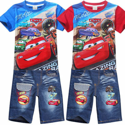 Cars Mcqueen Boy Toddler Kids T-shirt Jeans Shorts Pants Outfit Outwear Suits