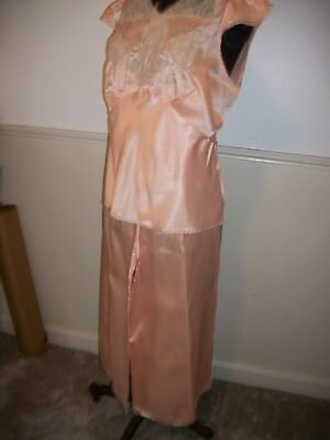 Vintage XL Peach Satin Fitted Lace Accent Top & Palazzo Lounging Pajamas 30s 40s