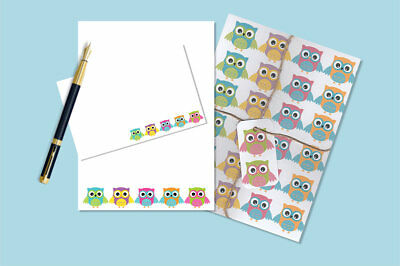 Cute Owls Letter Writing Paper and Envelopes Stationary Set, Penpal Gift Set