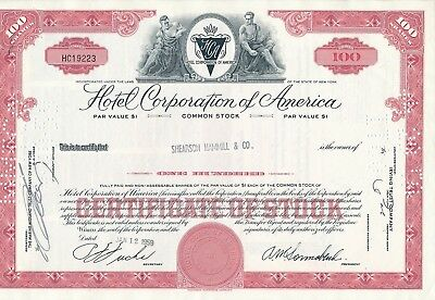 Hotel Corporation of America, HC19223, 12.1.1959, 100 Shares, HOTELS