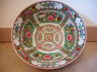 Grand plat bol porcelaine canton Chine china chinese porcelain bowl 30.5 cm