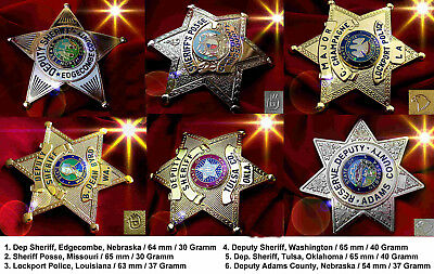 h./ 6 x police badges + Oklahoma, Nebraska, Washington, Louisiana, Missoouri, NC