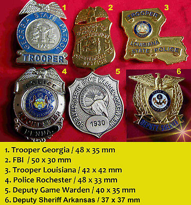 h./ 6 x Historische badges +  Louisiana, Georgia, Arkansas, FBI, New Mexico etc.