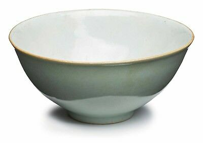 An antique Chinese porcelain celadon glazed bowl, 19th century, Qing dynasty