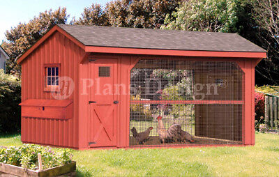 Large Chicken / Duck Coop Plans 6 by 12 Saltbox Roof Style, Design 70612CS