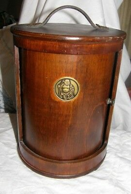 (Empty) Wooden Shrine Case with Carry Handle for Buddha Figure Side Roll Door